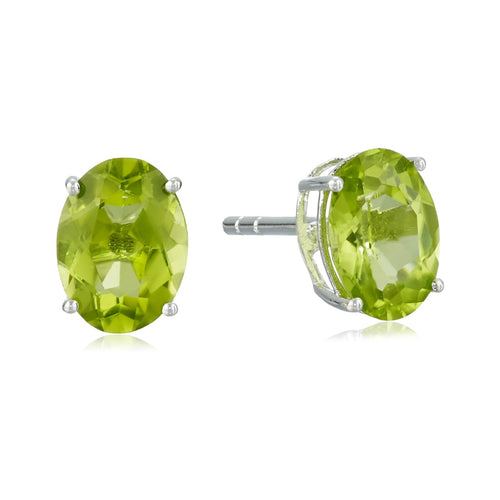 Sterling Silver Peridot 8X6 Oval Stud Earrings - pinctore