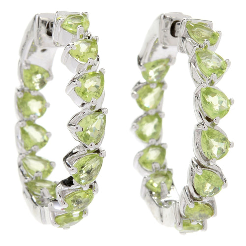 "Pinctore Sterling Silver 1"" Pear Cut Peridot Inside-out Hoop Earrings - pinctore"