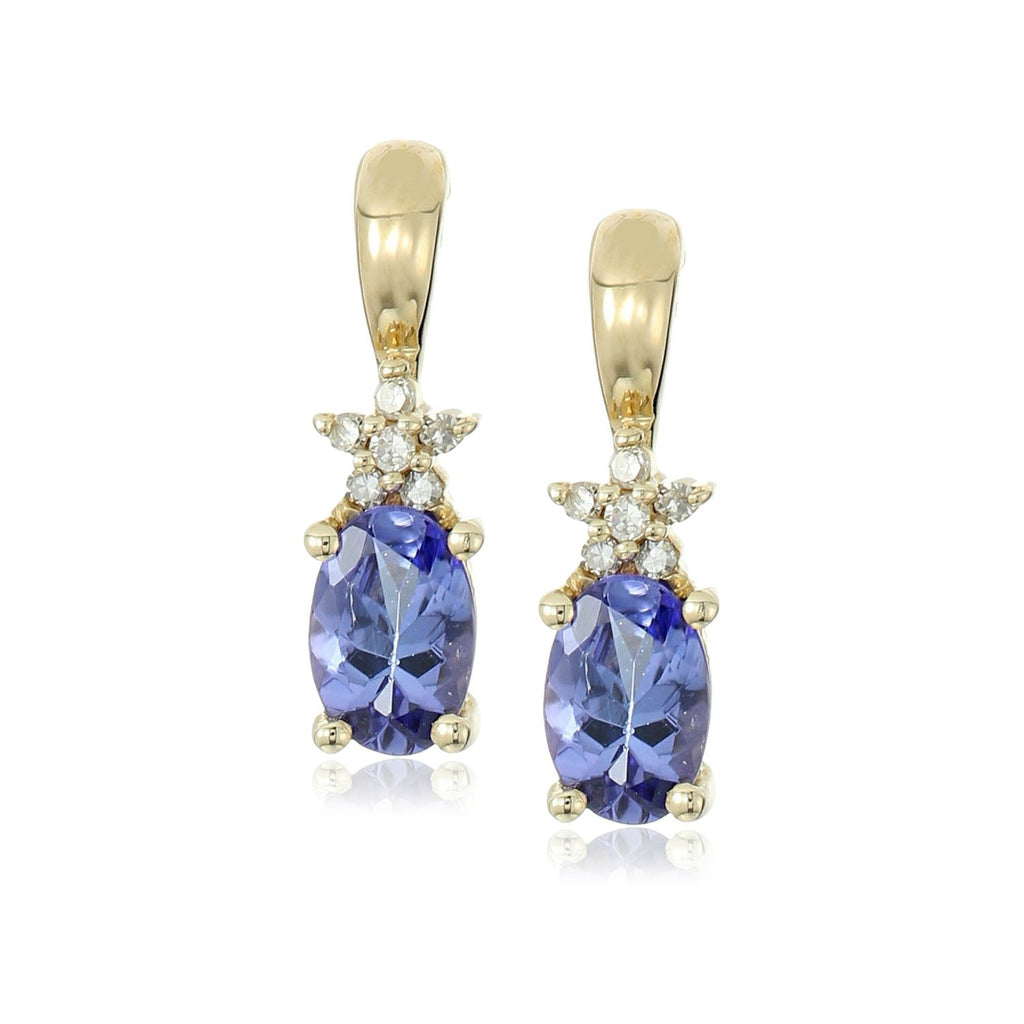 10k Yellow Gold Tanzanite and Diamond Accented Stud Earrings - pinctore