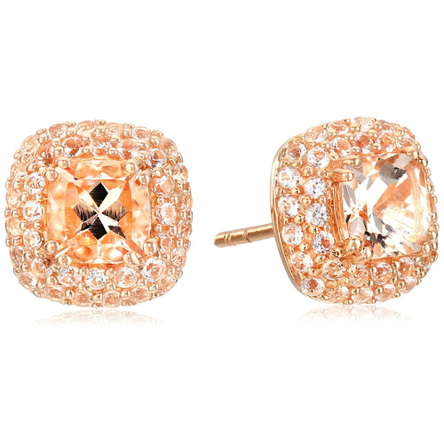 10k Rose Gold Morganite Cushion Double Halo Stud Earrings - pinctore
