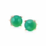 18K Yellow Plating Over Sterling Silver 8mm Round Genuine Gemstone Stud Earrings