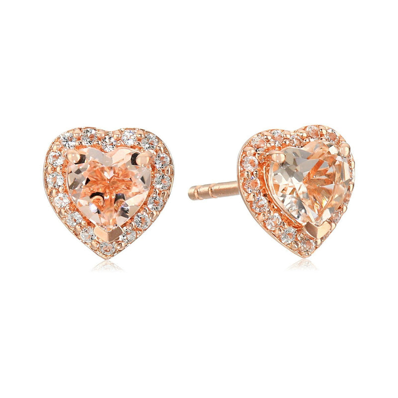 Pinctore Rose Gold-Plated Silver Morganite Heart Halo Earrings - pinctore