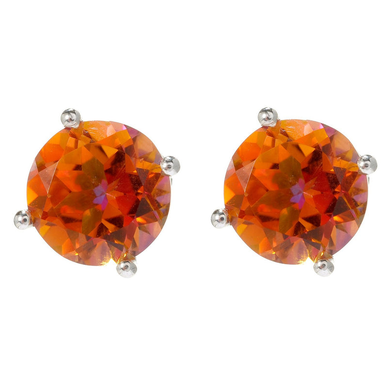 Pinctore Sterling Silver Round Sunset Quartz Stud Earrings