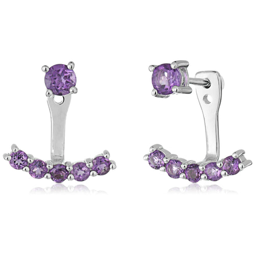 Sterling Silver African Amethyst Back Stud Earring Cuff - pinctore