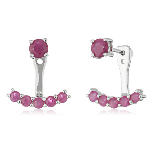 Sterling Silver Genuine Ruby Back Stud Earring Cuff - pinctore