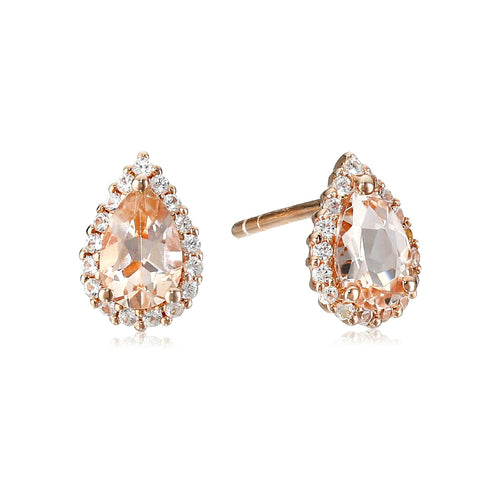 925 Sterling Silver Morganite, Created White Sapphire Stud Earring
