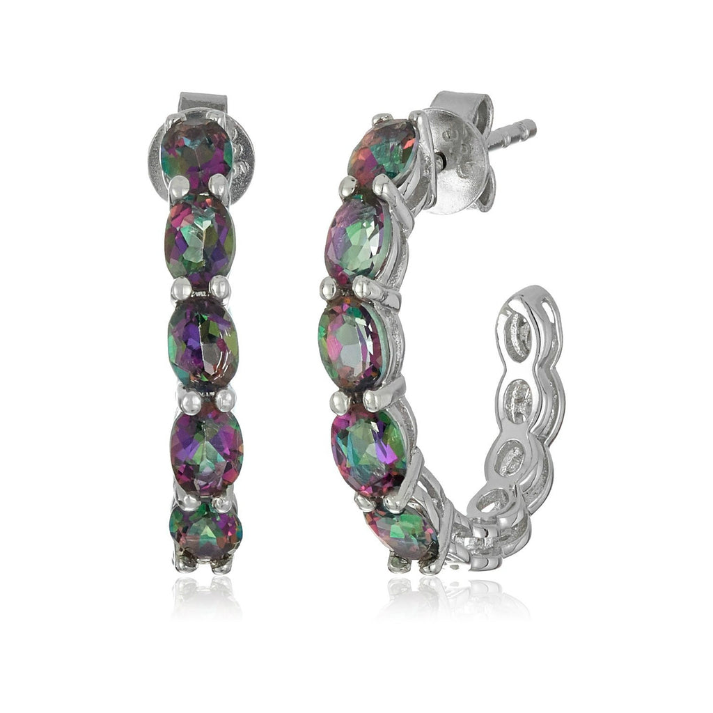 "Sterling Silver Mystic Topaz Half Hoop Earrings, 0.75"" - pinctore"
