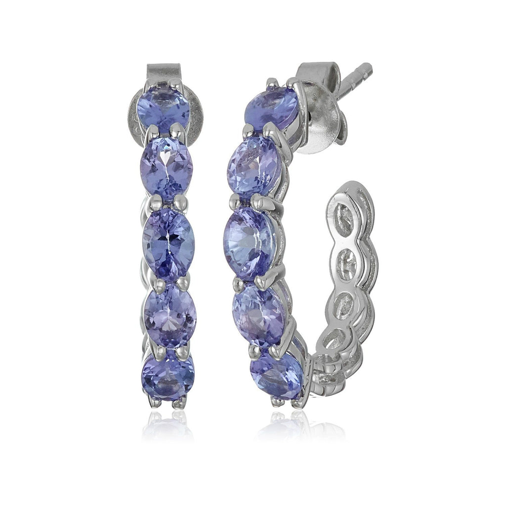 "Sterling Silver Tanzanite Half Hoop Earrings, 0.75"" - pinctore"