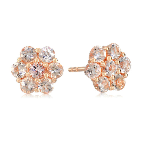 Pinctore Rose Gold-plated Silver Morganite Round Flower Stud Earrings
