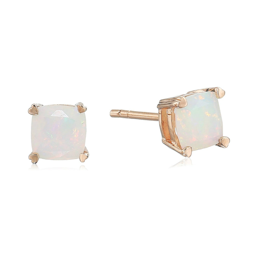 10k Rose Gold Ethiopian Opal Cushion Stud Earrings - pinctore