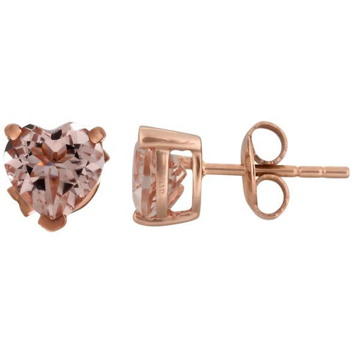 Pinctore 10k Rose Gold Morganite 6mm Heart Stud Earrings