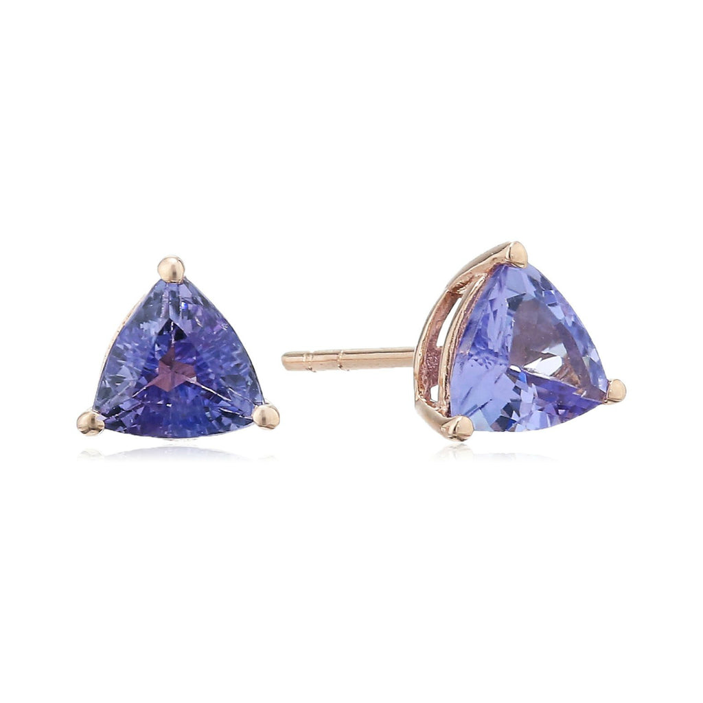 10k Rose Gold Tanzanite Trillion Stud Earrings - pinctore