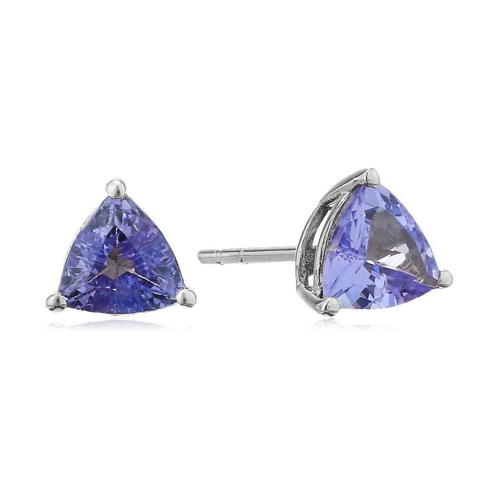 10k White Gold Tanzanite Trillion Stud Earrings - pinctore
