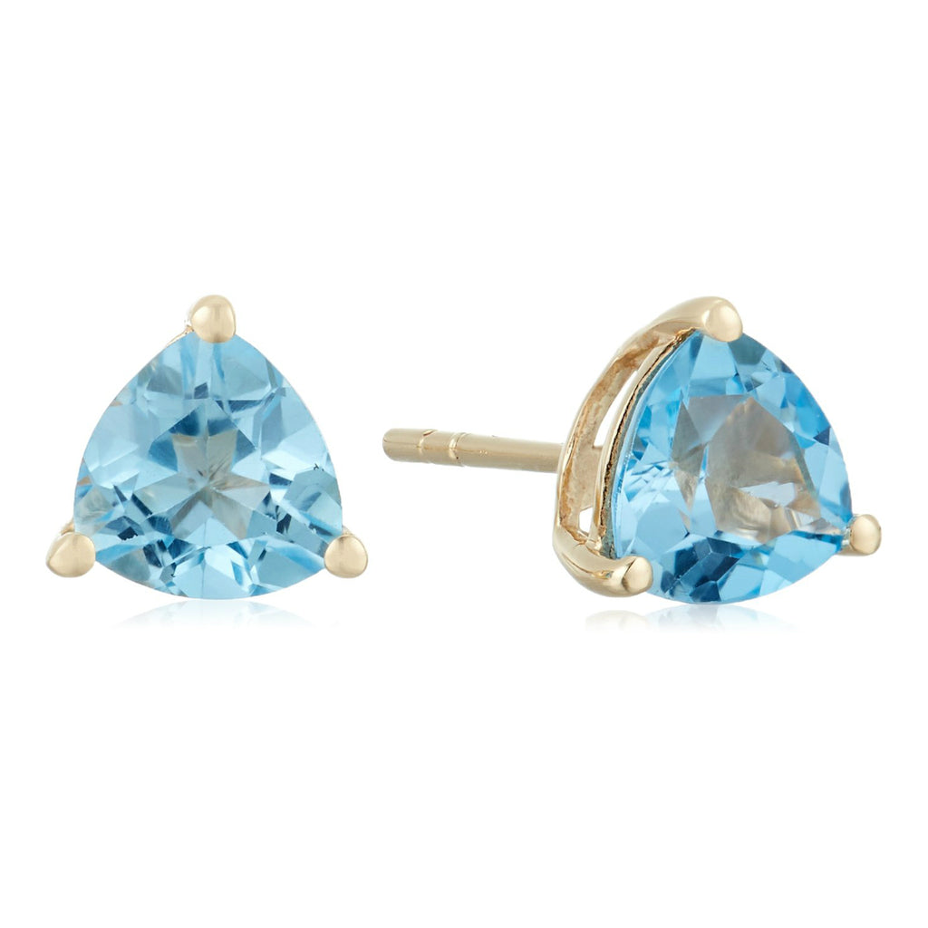 10k Yellow Gold Swiss Blue Topaz Trillion Stud Earrings - pinctore