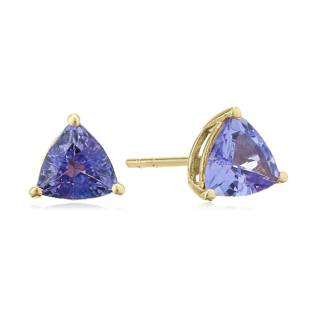 10k Yellow Gold Tanzanite Trillion Stud Earrings - pinctore