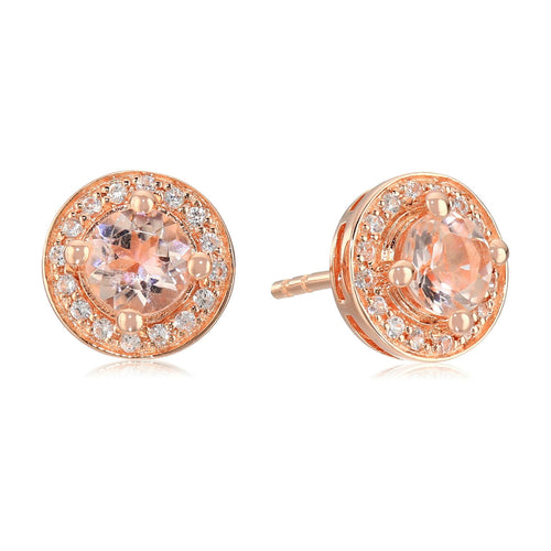 Pinctore Rose Gold-Plated Silver Morganite Round Halo Stud Earrings - pinctore