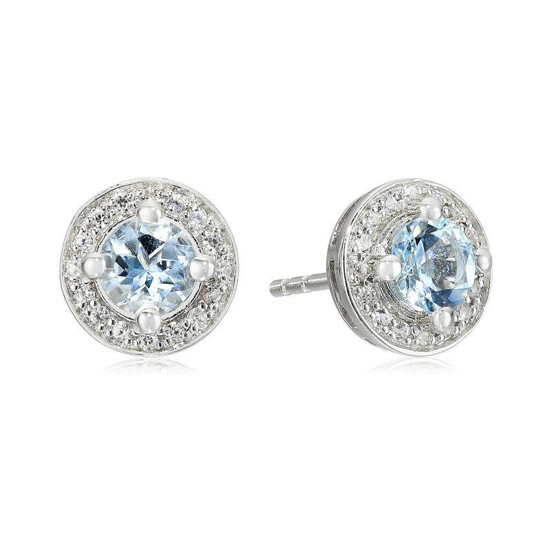 Sterling Silver Aquamarine Round Halo Stud Earrings - pinctore