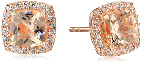 Pinctore Rose Gold-plated Silver Morganite And Created White Sapphire Cushion Halo Stud Earrings