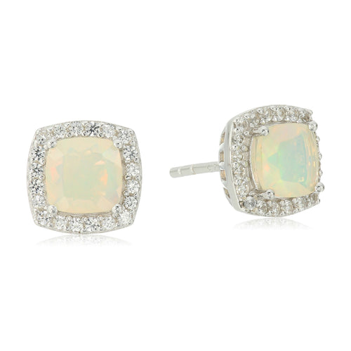 Pinctore Sterling Silver Ethiopian Opal And Created White Sapphire Cushion Halo Stud Earrings