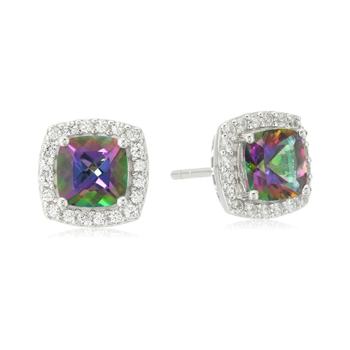 Pinctore Sterling Silver Mystic Topaz, Created White Sapphire Stud Earrings