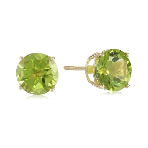 10k Yellow Gold Peridot Round Stud Earrings - pinctore