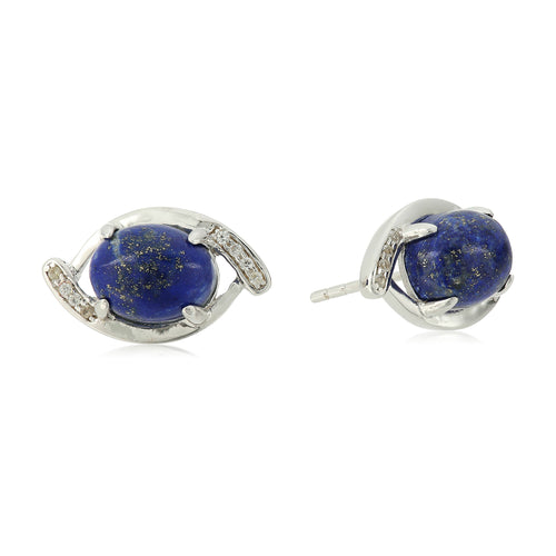 Sterling Silver Lapis And Created White Sapphire Evil Eye Stud Earrings - pinctore