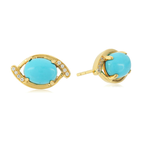 Pinctore Sterling SIlver 925 Created White Sapphire,Sonora Beauty Turquoise Studs Earring