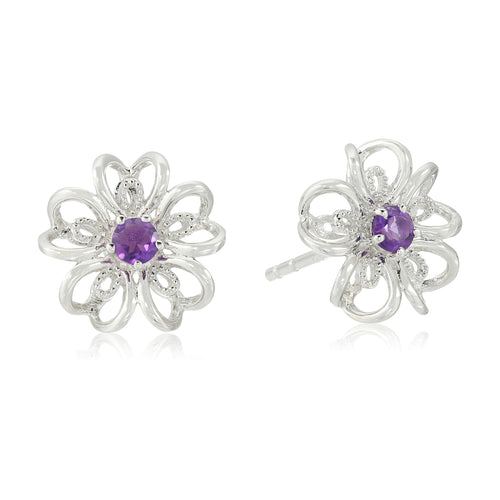 Sterling Silver African Amethyst Stud Earrings - pinctore