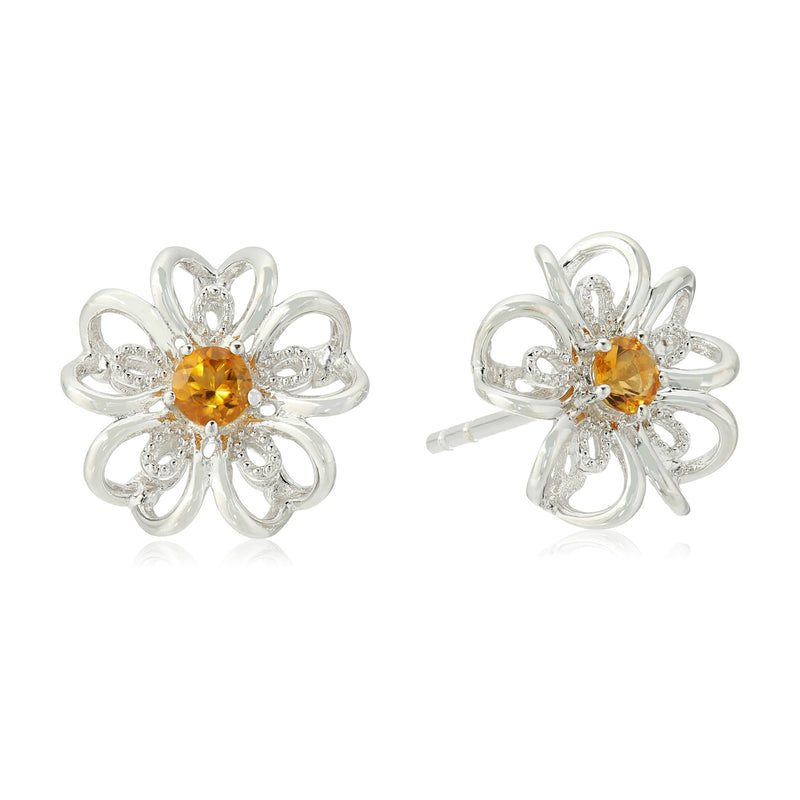 Sterling Silver Citrine Stud Earrings - pinctore