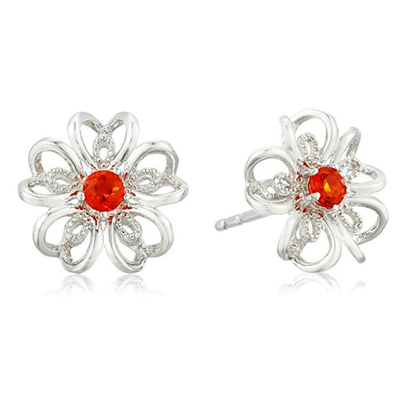 Pinctore Sterling Silver Fire Opal flower Stud Earrings