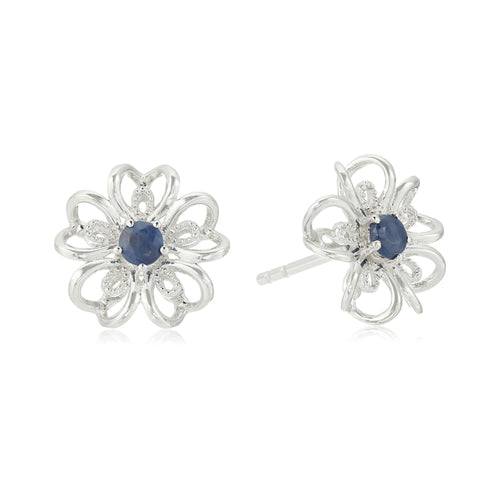 Sterling Silver Genuine Blue Sapphire Stud Earrings - pinctore
