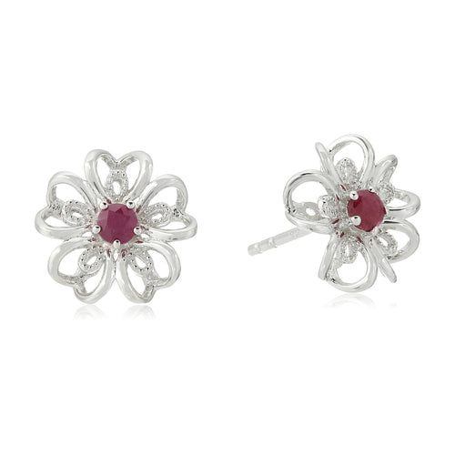Sterling Silver Genuine Ruby Stud Earrings - pinctore
