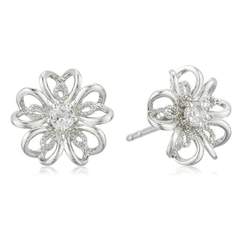 Pinctore Sterling Silver White Topaz flower Stud Earrings
