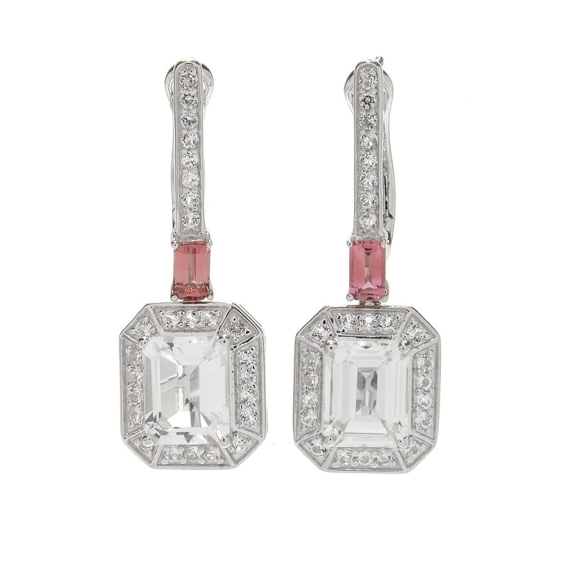"Pinctore Legacy Sterling Silver 1.25"" White Topaz & Pink Tourmaline Earrings - pinctore"
