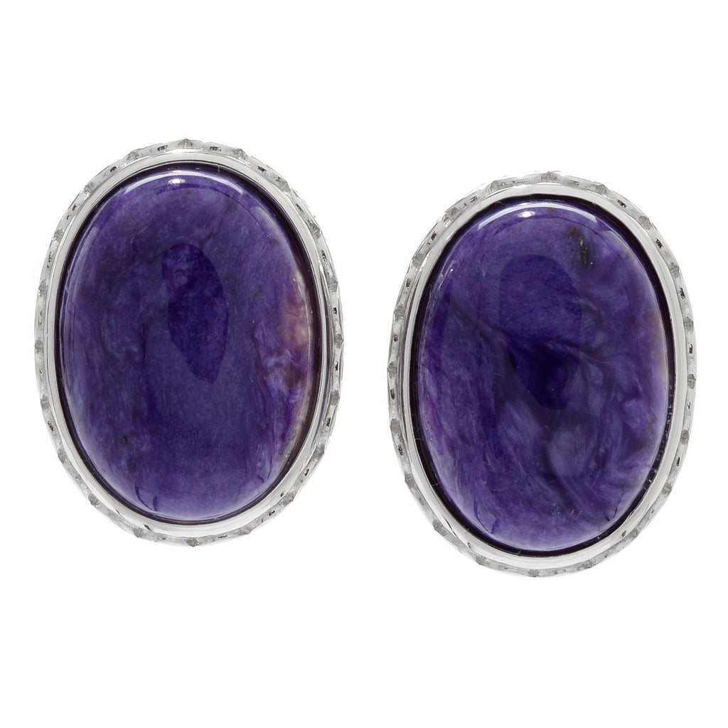 Pinctore Sterling Silver 18 x 13mm Chroite Stud Earrings w/Omega Backs - pinctore