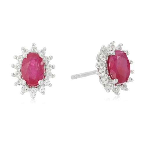 Pinctore Sterling Silver Ruby & Created White Sapphire Oval Halo Stud Earrings