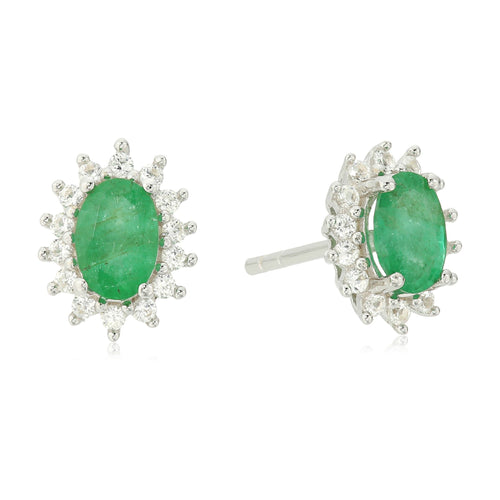 Sterling Silver Genuine Emerald And Created White Sapphire Oval Halo Stud Earrings - pinctore