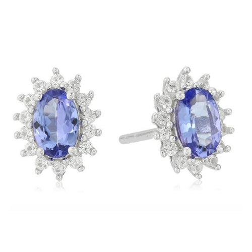 925 Sterling Silver Tanzanite,Created White Sapphire Stud Earring