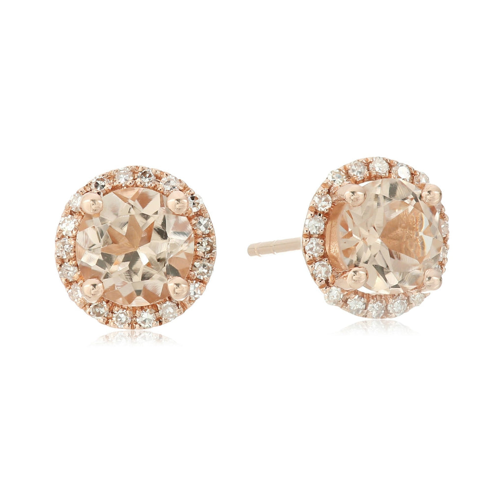10k Rose Gold Morganite And Diamond Classic Princess Di Halo Stud Earrings (1/10cttw, H-I Color, I1-I2 Clarity) - pinctore