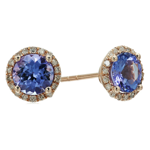Pinctore 10k Rose Gold Tanzanite and Diamond Classic Princess Di Halo Stud Earrings (1/6 cttw, H-I Color, I1-I2 Clarity)