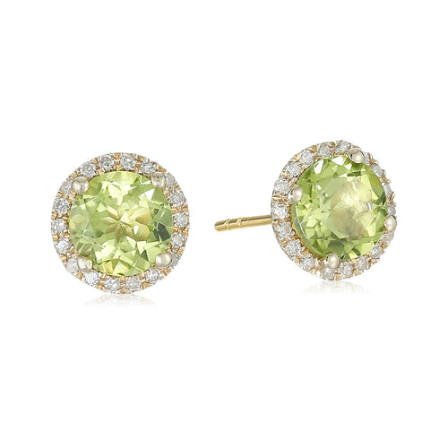Pinctore 10k Yellow Gold Peridot and Diamond Classic Princess Di Halo Stud Earrings (1/6 cttw, H-I Color, I1-I2 Clarity)
