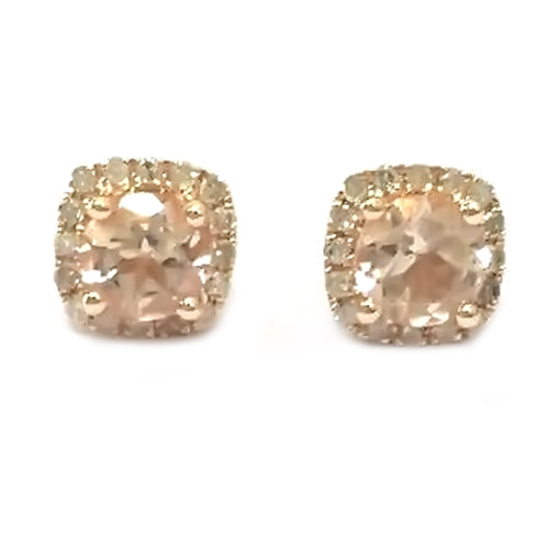 10KT Gold Morganite And Diamond Earring