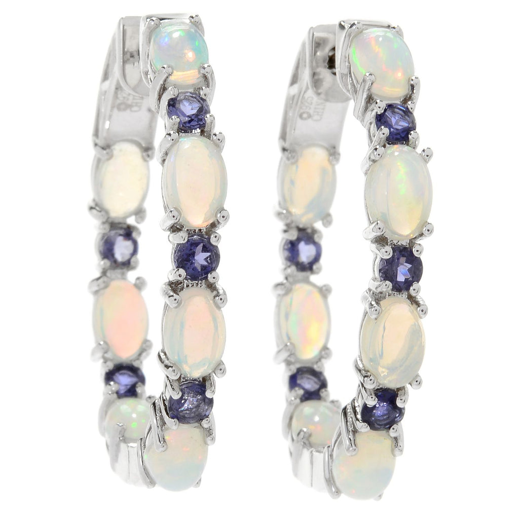 "Pinctore Sterling Silver 1.25"" Ethiopian Opal & Iolite Hoop Earrings - pinctore"