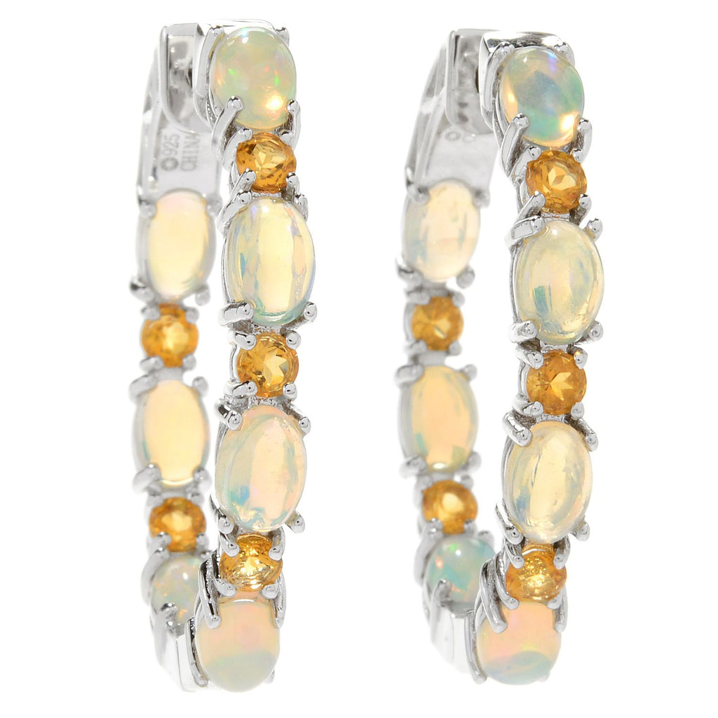 "Pinctore Sterling Silver 1.25"" Ethiopian Opal & Madeira Citrine Hoop Earrings - pinctore"