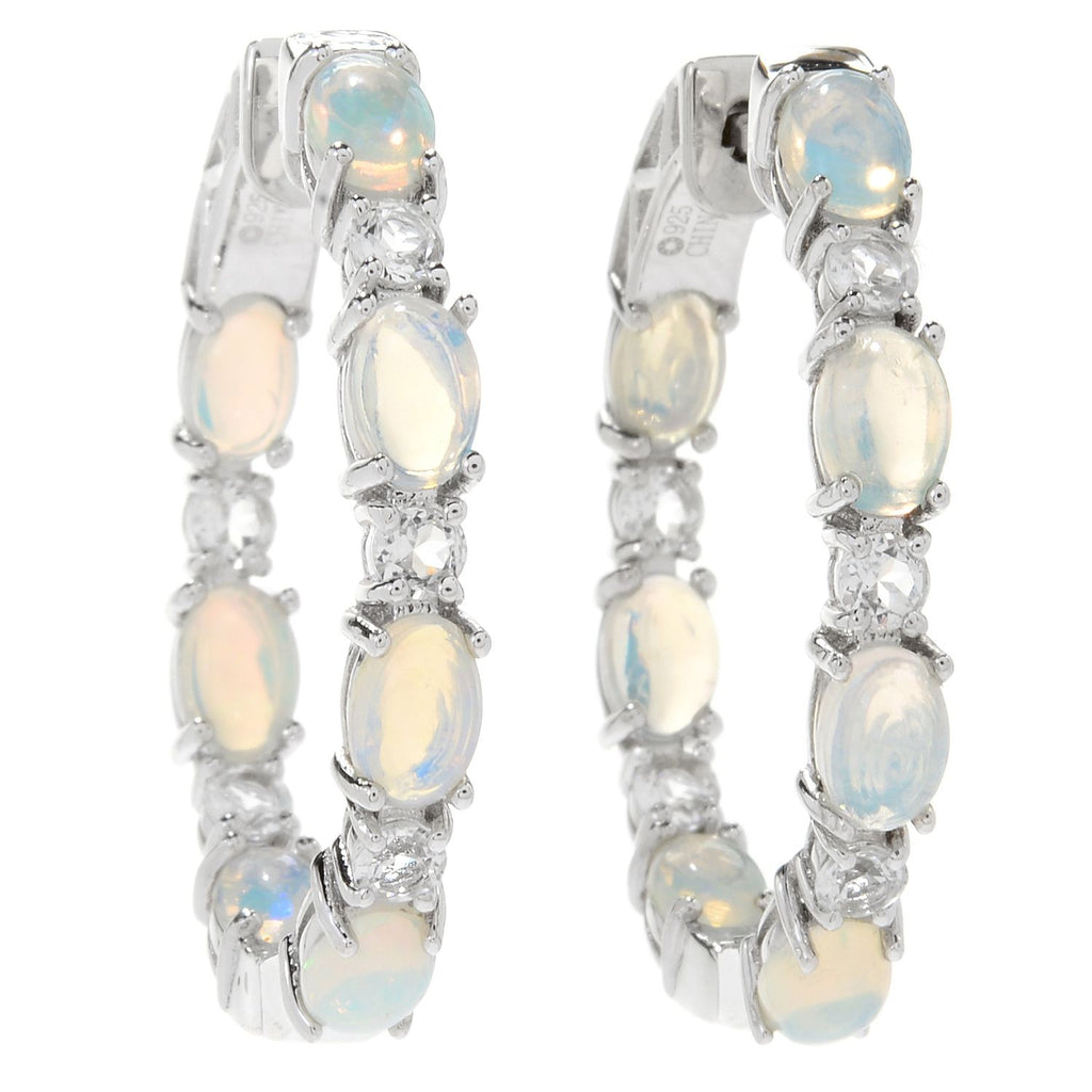 "Pinctore Sterling Silver 1.25"" Ethiopian Opal & White Topaz Hoop Earrings - pinctore"