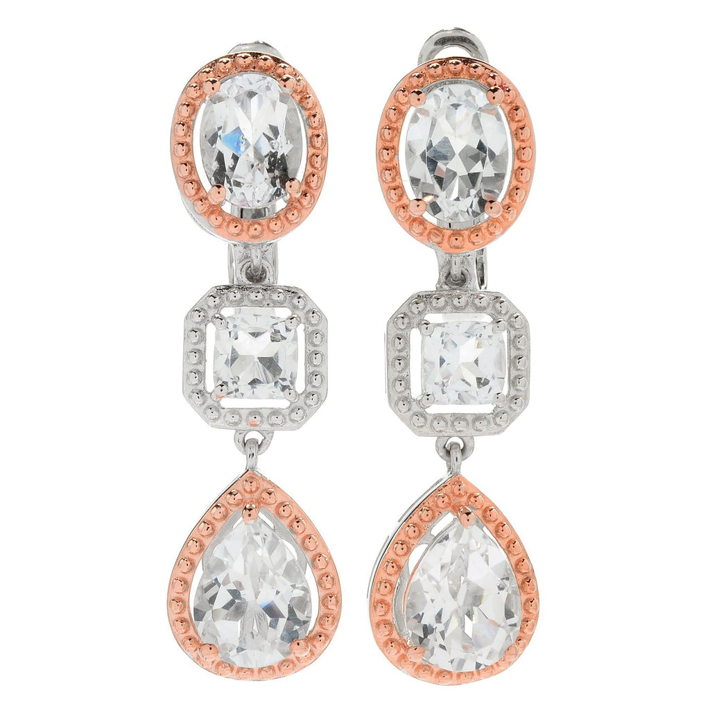 "Pinctore Sterling Silver Two-tone 1.5"" 7.50ctw White Topaz Drop Earrings - pinctore"