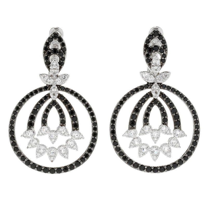 Pinctore Rhodium Over Sterling Silver 4.3ctw White Topaz & Black Spinel Drop Earrings - pinctore