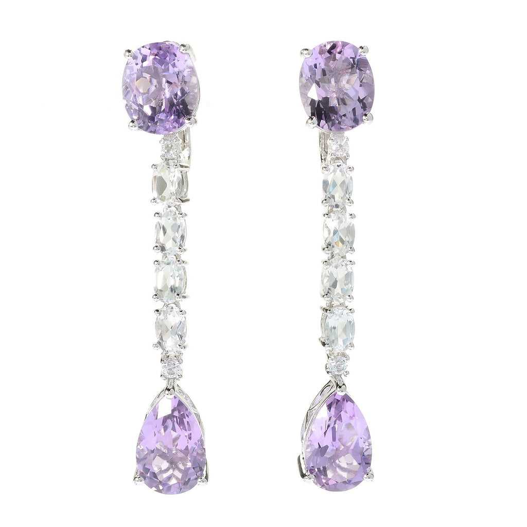 "Pinctore Sterling Silver Legacy 2.25"" Multi Shape Pink Amethyst Drop Earrings - pinctore"