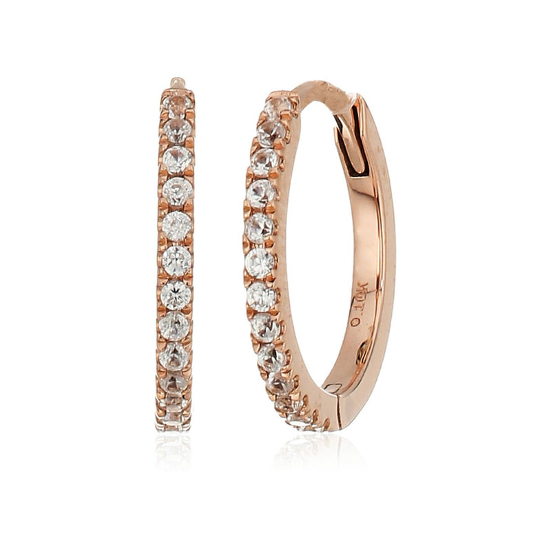 10k Rose Gold White Zircon Small Hoop Earrings - pinctore