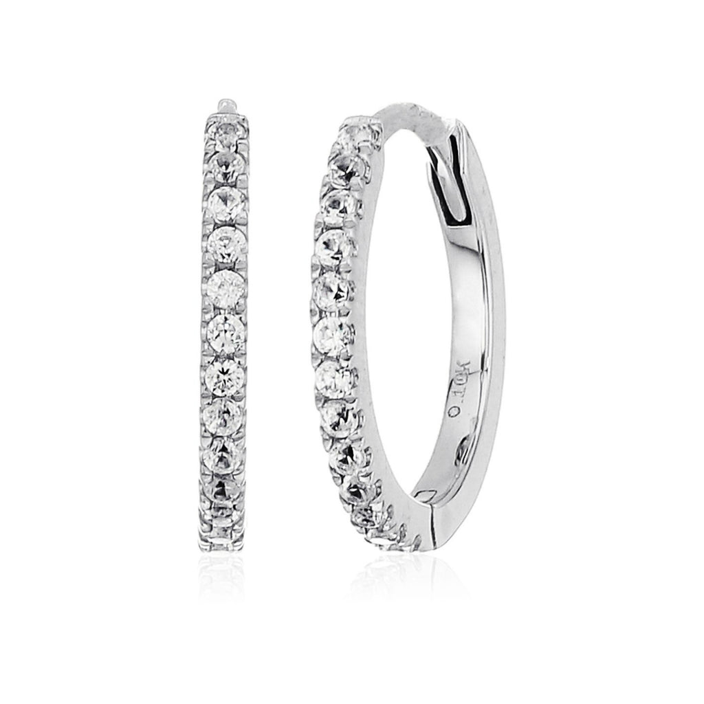 10k White Gold White Zircon Small Hoop Earrings - pinctore